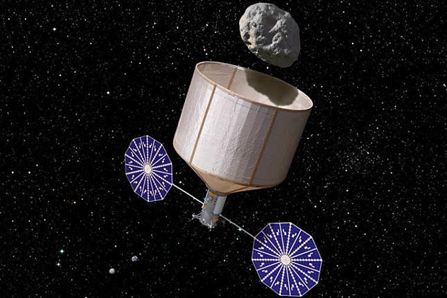 A fantáziarajzon az űrszonda a kisbolygó befogására készül. Forrás: origo.hu; Conclude Zrt.